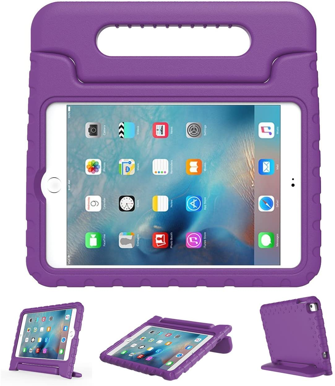 LEFON Kids Case Shockproof for iPad Mini 4 Convertible Handle Light Weight Super Protective Stand Cover Case for Apple iPad Mini 4 Tablet 2015 Released