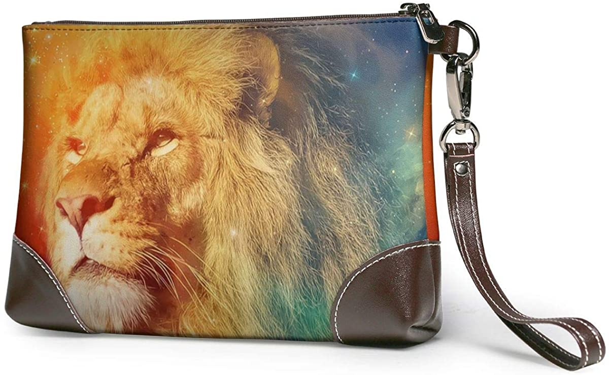 Women'S Leather Wristlet Clutch Wallet Cool Galaxy Lion Purse Phone Handbags Card For Travel Party Wedding Shopping