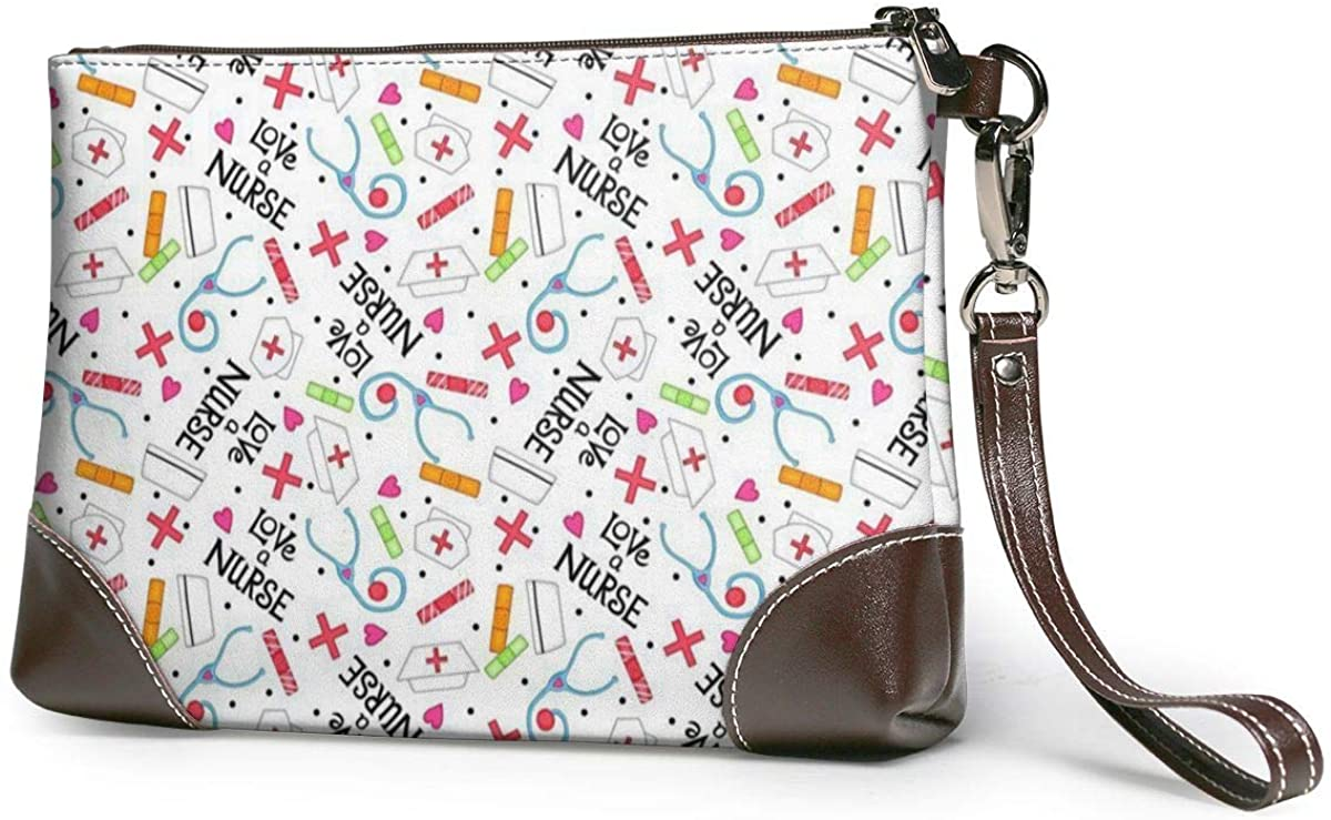 Love A NurseWomen's Leather Wristlet Clutch Zipper Wallet Case Cellphone Purse Handbag