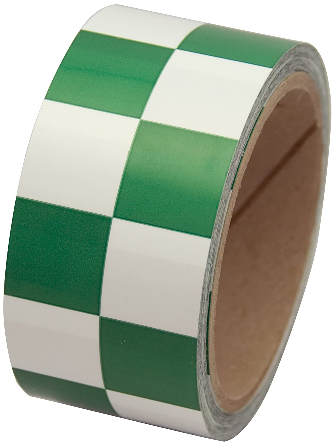 INCOM Manufacturing: LCB223 1 inch Square Pattern PVC Checkerboard Racing Laminated Tape, 2 inch x 54 ft, Green and White – Indoor and Outdoor