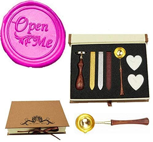 MNYR Vintage Open Me Sealing Wax Seal Stamp Wood Handle Melting Spoon Wax Stick Candle Gift Book Box kit Wedding Invitation Embellishment Holiday Card Christmas Gift Wrap Package Seal Stamp Set