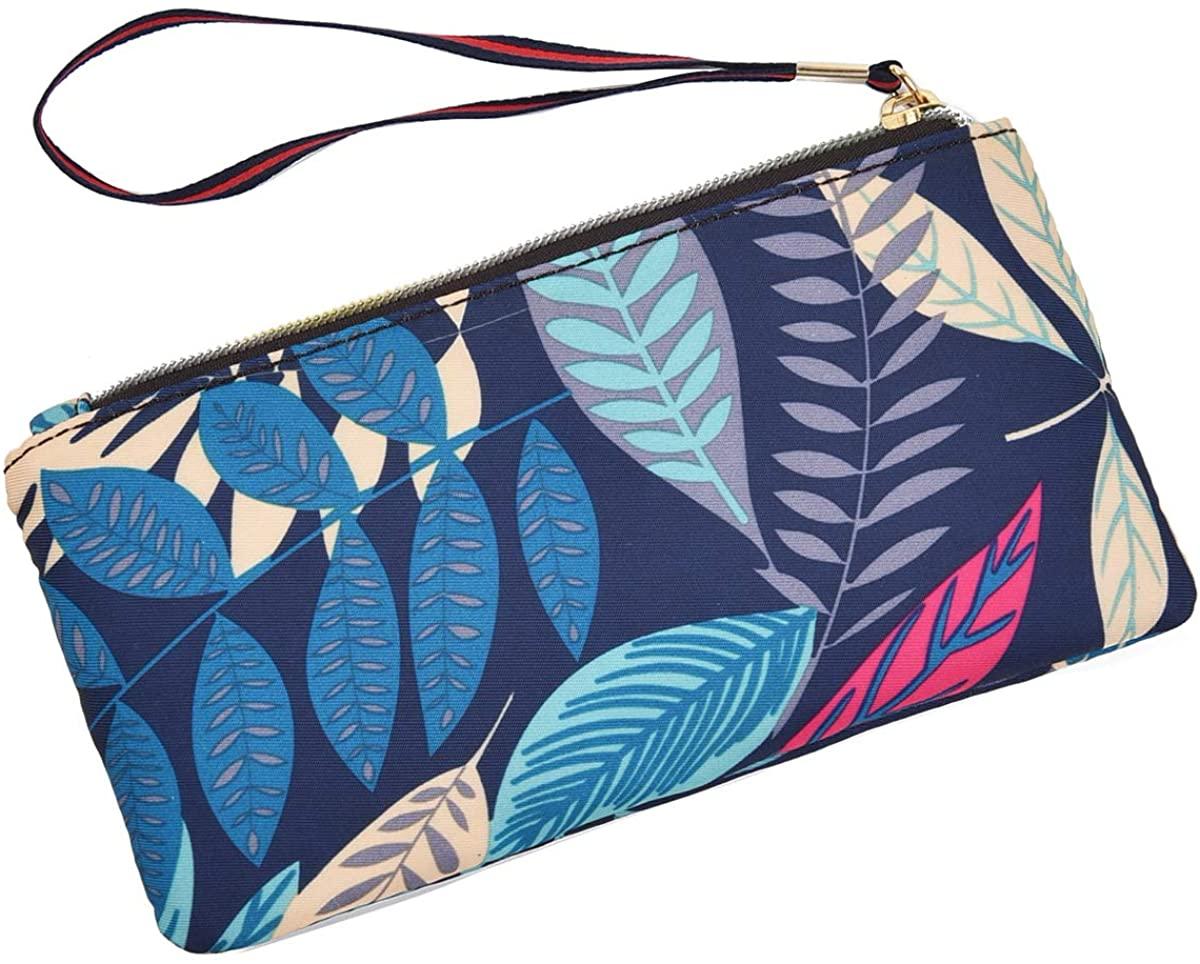 AnnabelZ Women Long Wallet Coin Purse Phone Clutch Wristlet Leaf Credit Card Holder Pouch