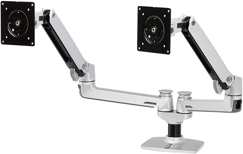 DHgateBasics Premium Dual Arm Monitor Stand - Lift Engine Arm Mount, Aluminum - Silver
