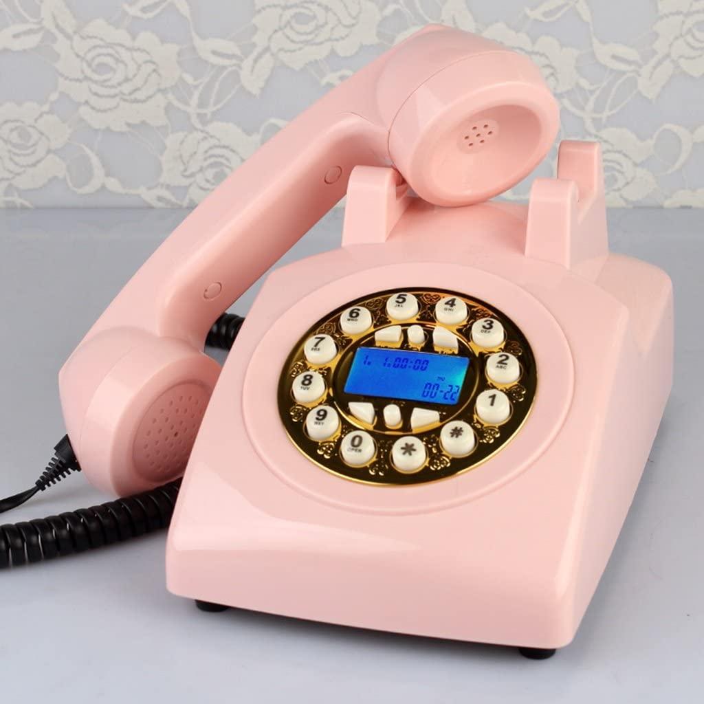ZJM Retro Button Antique Phone - American Machine Clock/Home Office Landline/Button Backlight Display 23x13x13cm Antique Phone (Color : Pink)