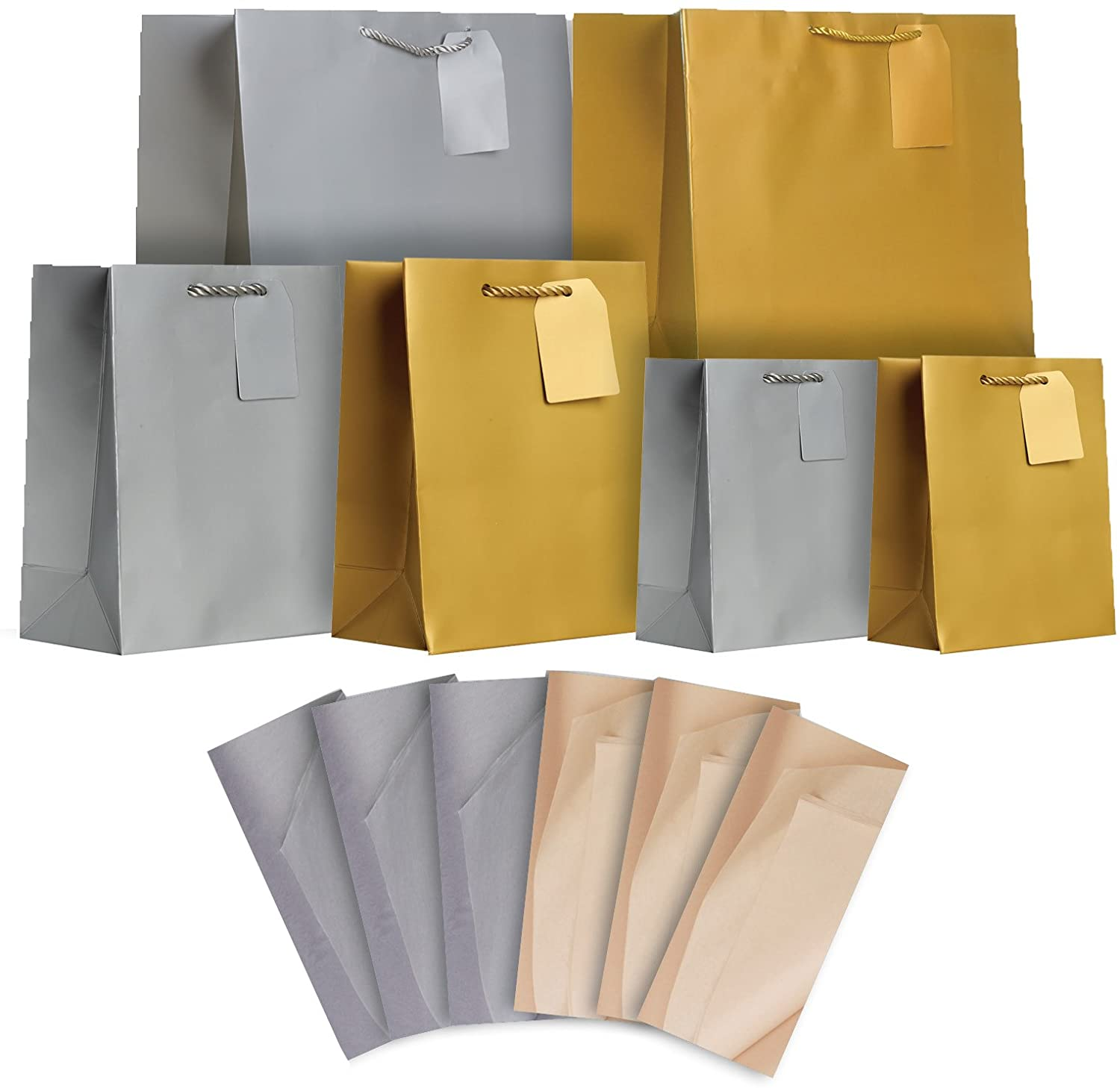 Jillson Roberts Gift Bags in Assorted Sizes with Tissue, Silver and Gold Metallic Matte (STAT001)