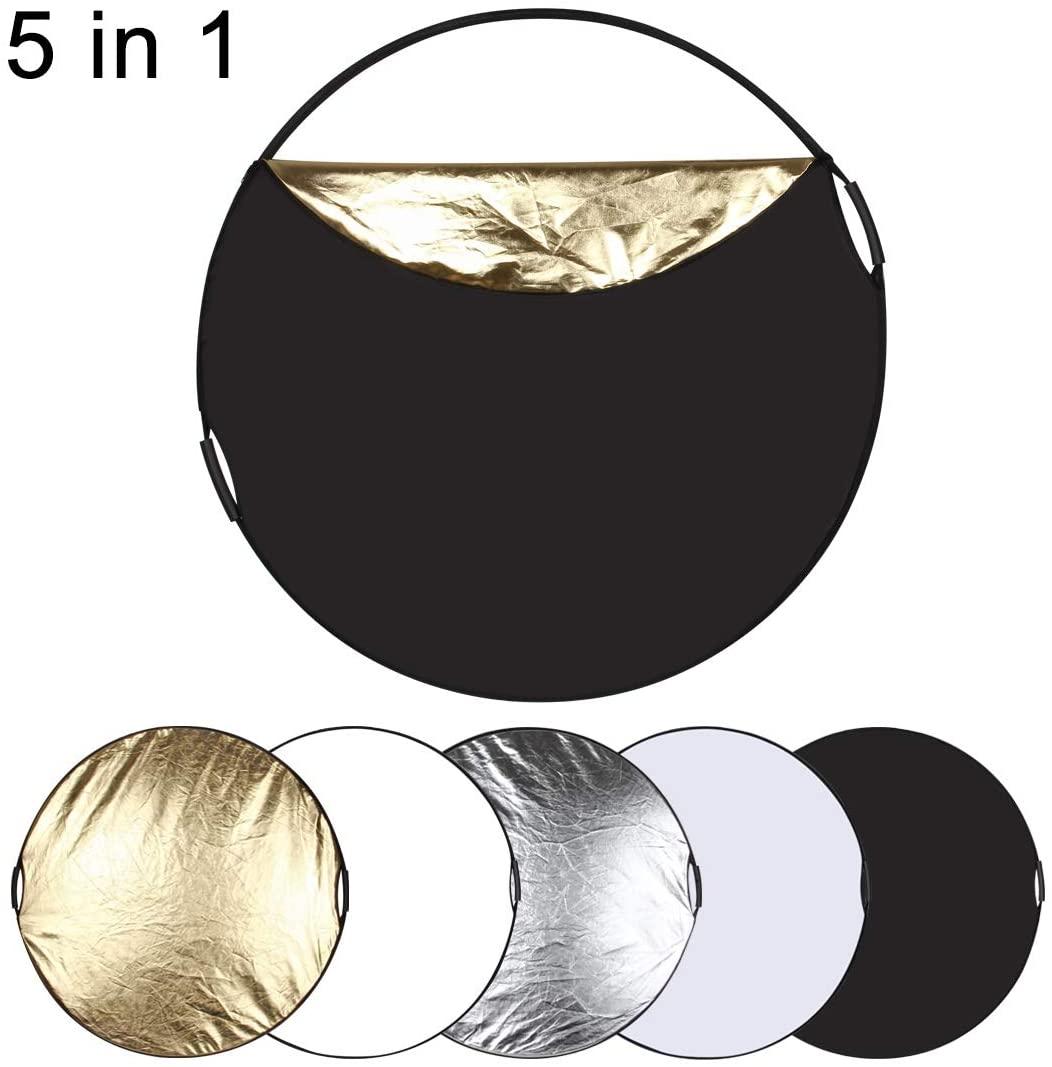 LUOKANG Camera Accessories 80cm 5 in 1 (Silver/Translucent/Gold/White/Black) Folding Photo Studio Reflector Board