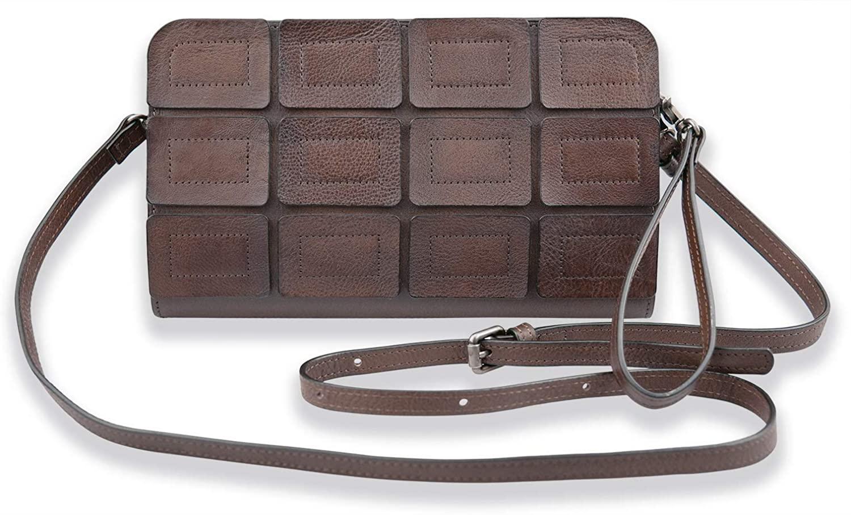 Small Crossbody Bag for Women Genuine Leather Cellphone Purses with 2 Straps Wristlet Handbag