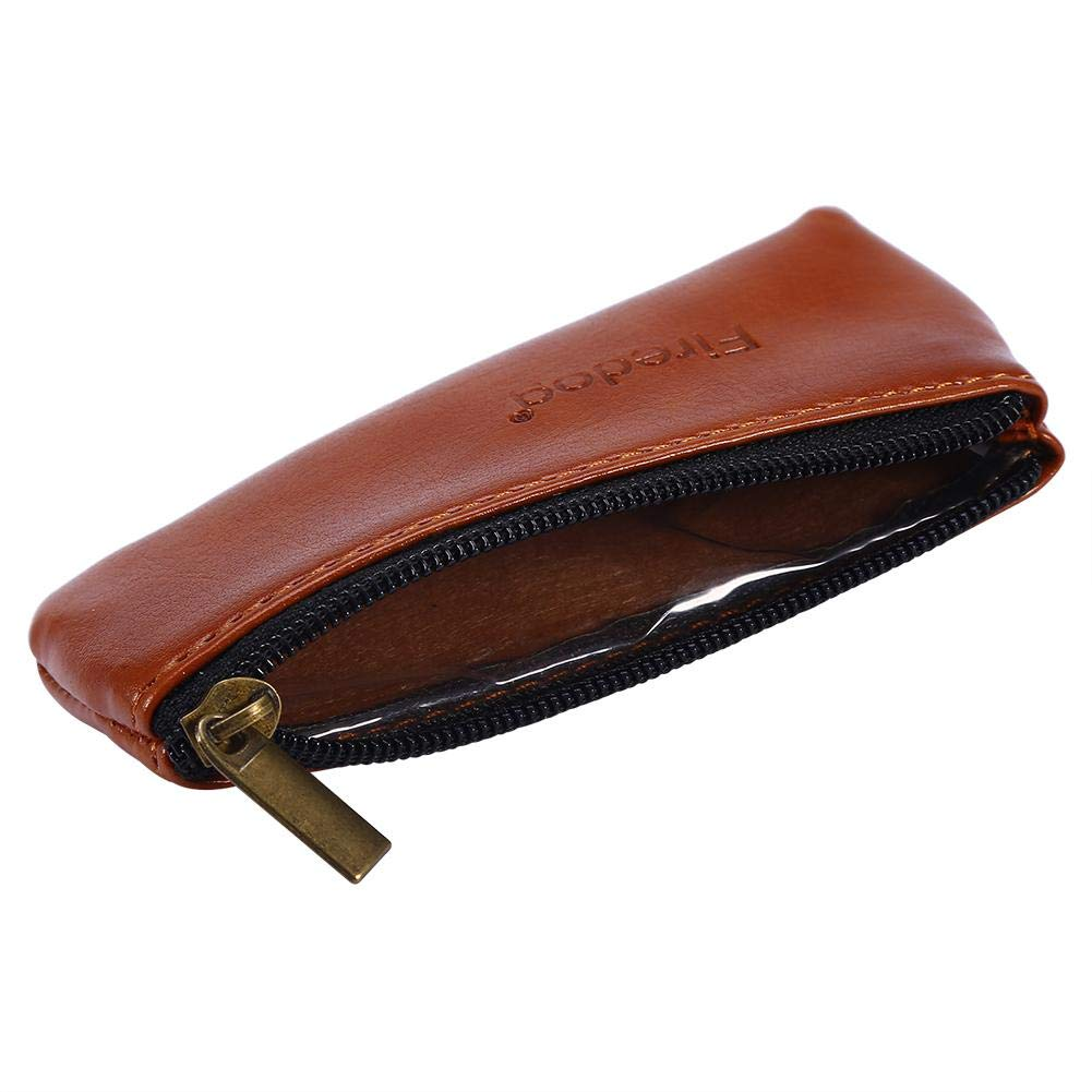 Brino Tobacco Pouch, Portable Zippered PU Leather Pouch Bag Case Holder for Preserving Tobacco & Smoking Pipe Brown, Medium