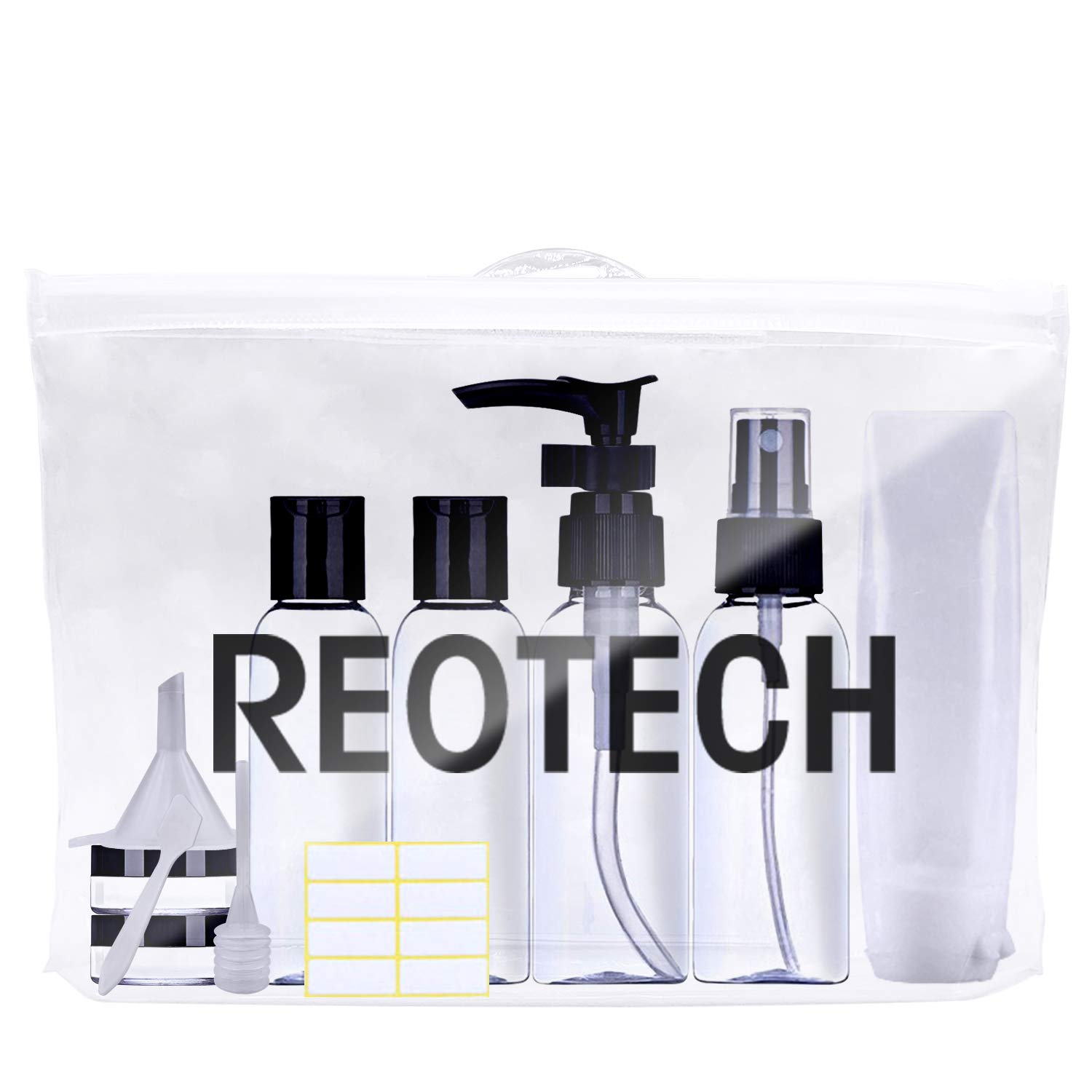 Travel Bottles TSA Approved Leak-Proof - REOTECH Toiletry Bag Clear Quart Size Travel Accessories, Refillable Silicone Travel Containers for Liquids 3-1-1 Carry-On Luggage Airplane Compliant