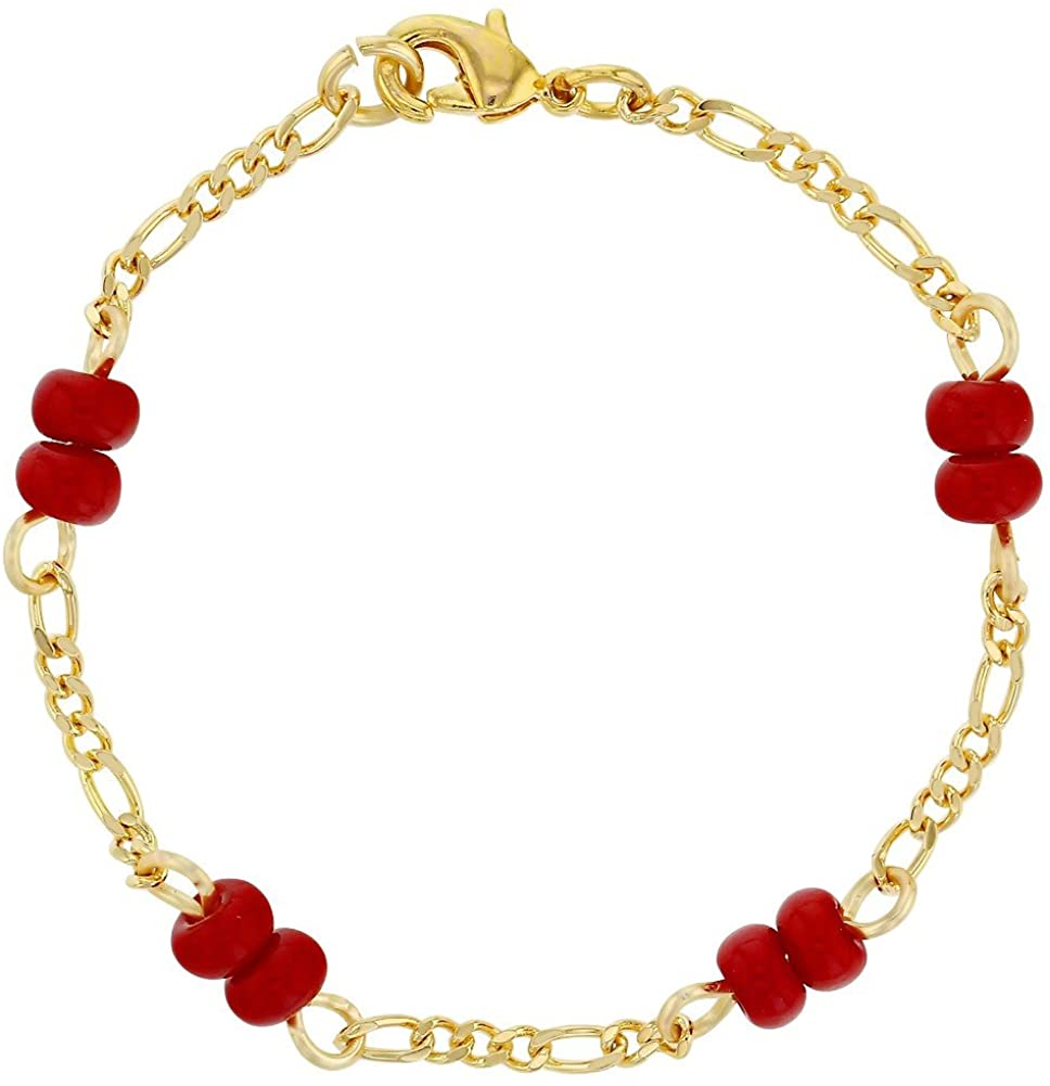 18k Gold Plated Red Bracelet for Baby Evil Eye Protection Newborn 4.5