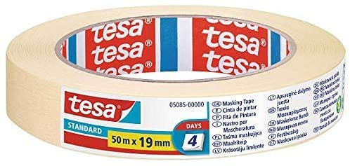 Thin Paper Masking Tape 0.80 Inch x 55 Yards, Tesa 5085, Suitable for All Masking Applications Both Metal, Glass, Rubber