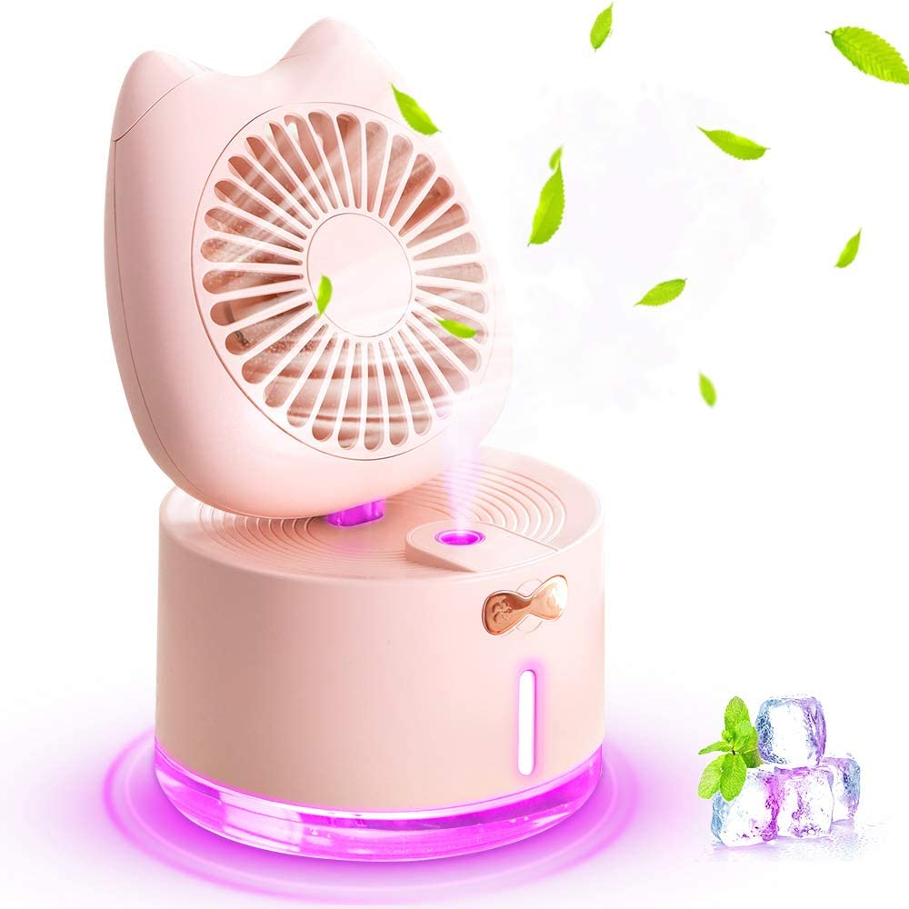 Mini Desk Fan, Rechargeable Battery Operated Table Cooling Fan with LED Light and Humidifier Fan, 3 Speeds Portable USB Fan Quiet for Home, Office, Travel, Camping, Outdoor, Indoor