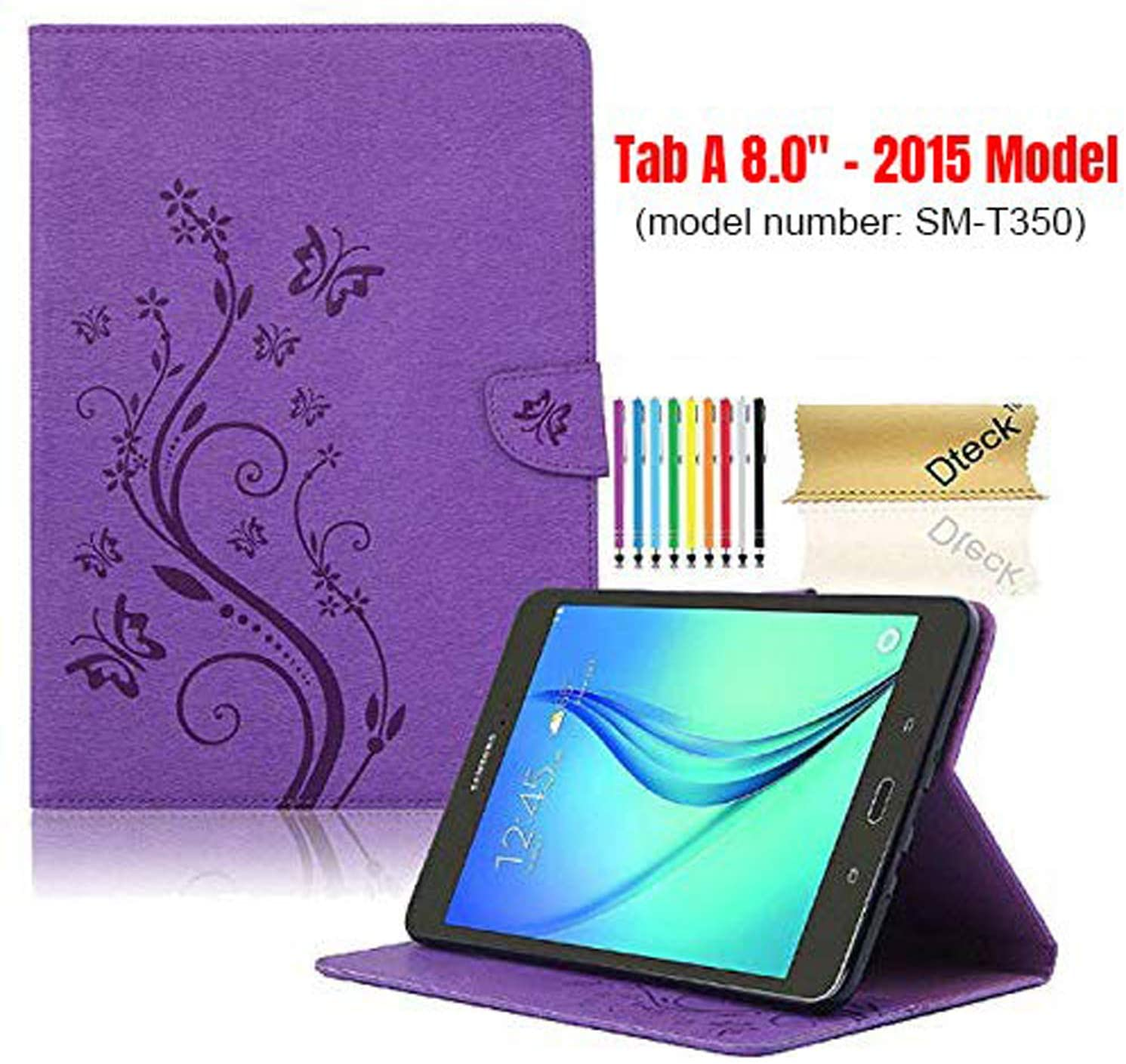 SM-T350 Case with [Stylus Pen], Tab A 8.0 Case 2015 Model, Dteck Pretty Nice Cute Butterfly Flip Stand Case PU Leather Folio Pocket Cover for Samsung Galaxy Tab A 8 Inch 2015 Version(Purple)