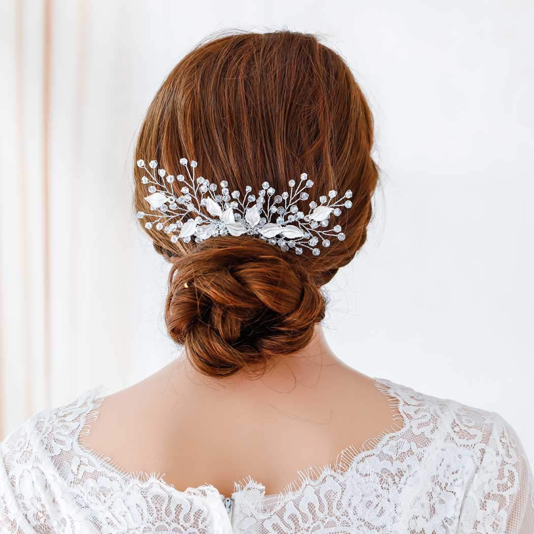 Jovono Bride Wedding Hair Comb Bridal Bling Bead Head Accessories Leaf Headpieces for Women and Girls (Silver)
