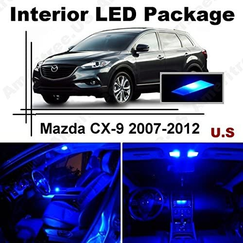 Ameritree Blue LED Lights Interior Package + Blue LED License Plate Kit for Mazda CX-9 2007-2012 (9 Pieces)