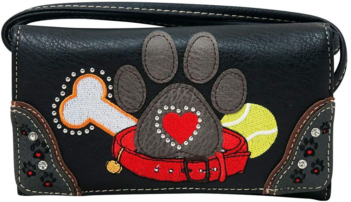 HW Collection Dog Paw Print Women Wallet Wristlet Crossbody Small Purse Clutch