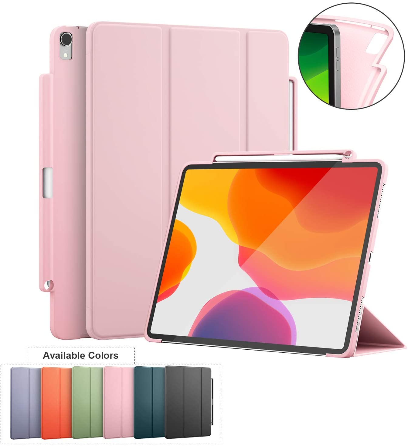 iPad Case PRO 11-Inch 2018 with Pen Holder Suppprt Magically Attach&Wirelessly Charge,Magnetic Closure and Auto Sleep/Wake,Two Easy Viewing Angles,Soft TPU Back Shell for 2018 Pro 11 (Pink)