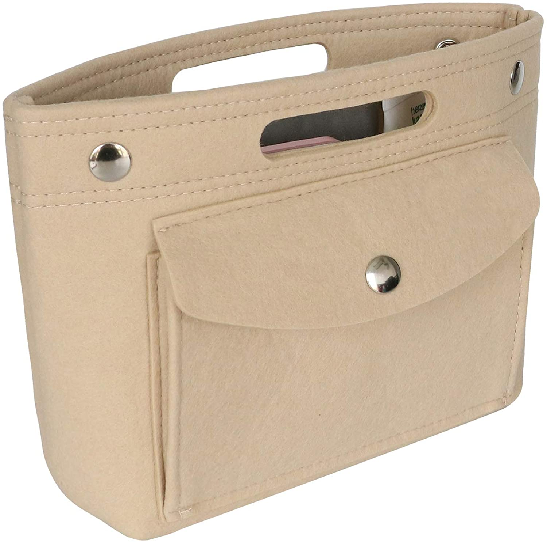 HyFanStr Mini Felt Purse Organizer Insert with Handles in Bag Organizer Tote Bag Liner Organizer Inner Wallet Handbag Divider