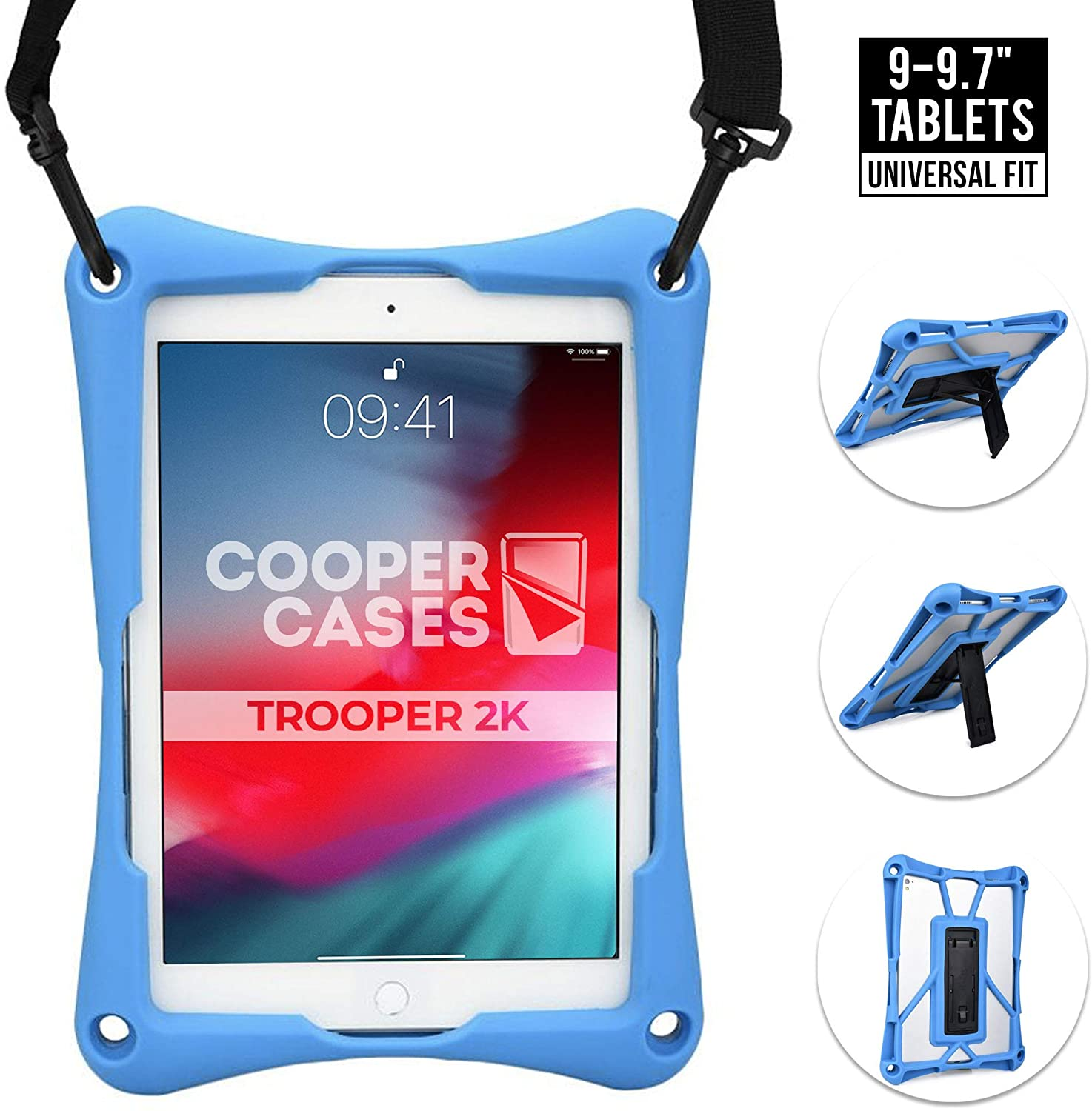 Cooper Trooper 2K Rugged Case for 9-9.7 Inch Tablet | Tough Bumper Protective Drop Shock Proof Kids Holder Carrying Cover Bag, Stand, Strap (Blue)