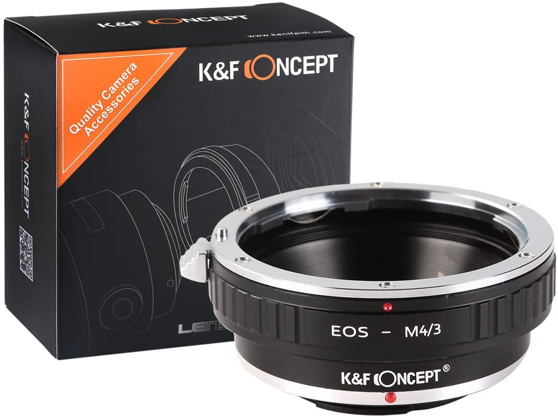 K&F Concept Lens Adapter + Lens Cleaning Cloth - fits Micro Four Thirds (Micro 4/3) MFT Cameras, for Canon EOS Mount Lenses