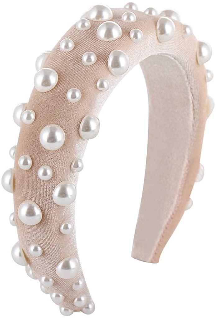 Lethez Sponge Velvet Hairband for Women Pearls Beading Headband Wide Thick Hair Head Hoop Accessories