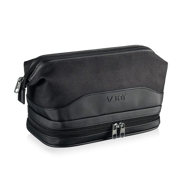 V JOY Toiletry Bag Travel Bag for Men and Women, Dopp Kit For Travel Double Layer Large Shaving Bag Bathroom Shower Organizer Kit, RPET Recycled Material, Environment Protection (Black)