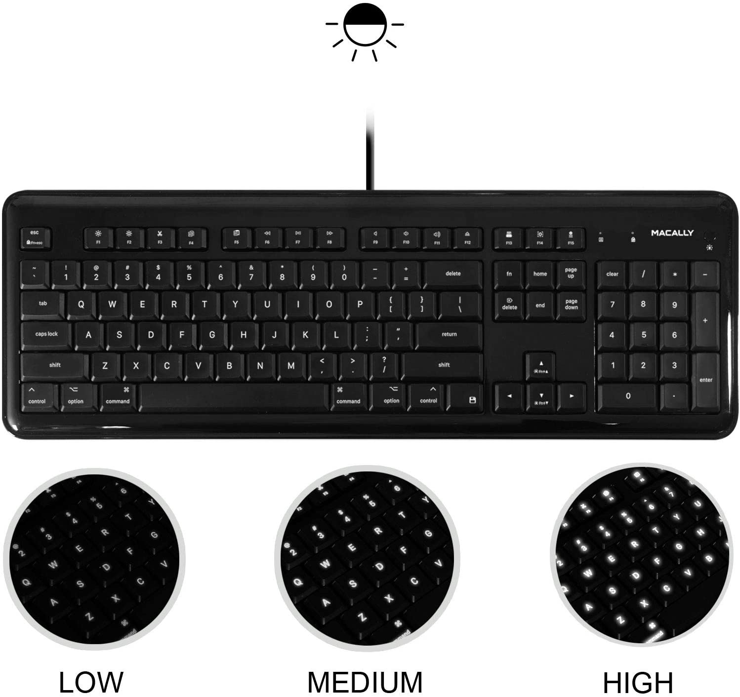 Macally Full Size USB Wired Backlit Keyboard for Apple Mac iMac Desktops Mac Mini, or MacBook Pro/Air Laptop Computers - White LEDs with 3 Level Brightness, Black
