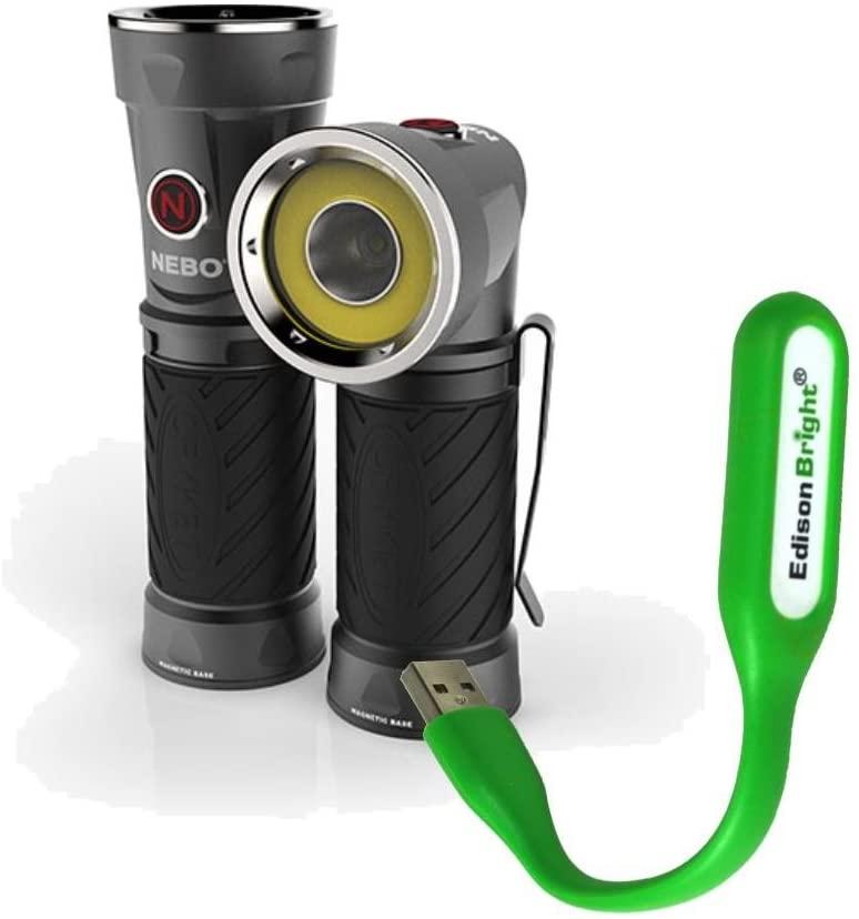 Nebo Cryket 6437 AAA Battery Powered worklight/Flashlight with EdisonBright USB Reading Light Bundle