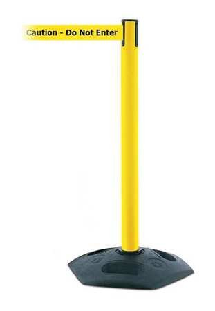Barrier Post with Belt, PVC, Yellow
