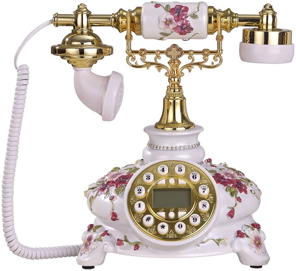 Fixed Telephone Caller ID Three-Dimensional Pattern Antique Landline Decoration for Home and Office Hotel Venue