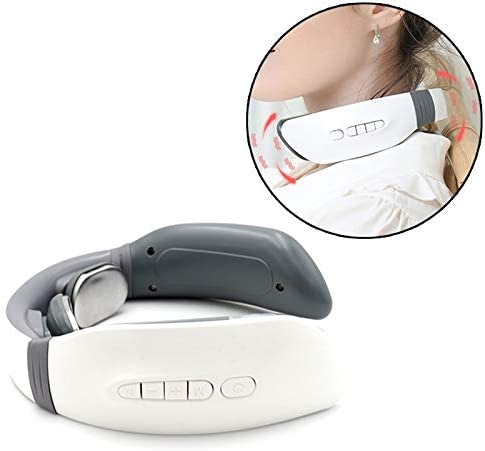 AEIOU Household ElectricRechargeable Pulse Shock Neck Massager Heating Intelligent Body Massager, Remote Control