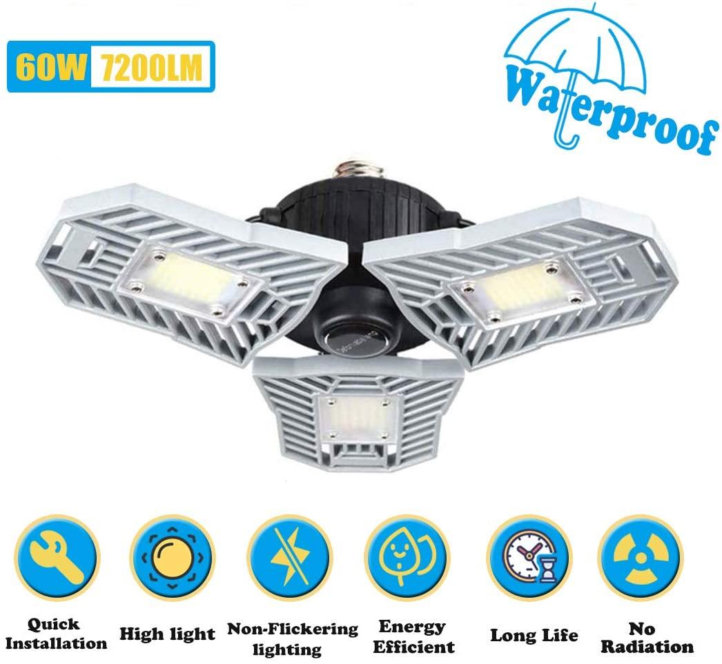 Catinbow 60W LED Garage Lights,7200LM Deformable LED Garage Ceiling Lights,6000K E27 Motion Wctivated Light with 3 Adjustable Panels LED Garage Light Bulbs for Barn,Warehouse,Workshop