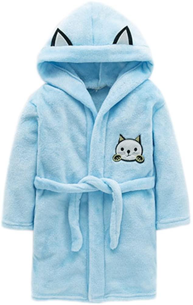 JIANLANPTT Soft Warm Bathrobe Kids Boy Girls Flannel Hooded Cartoon Robe Pajamas