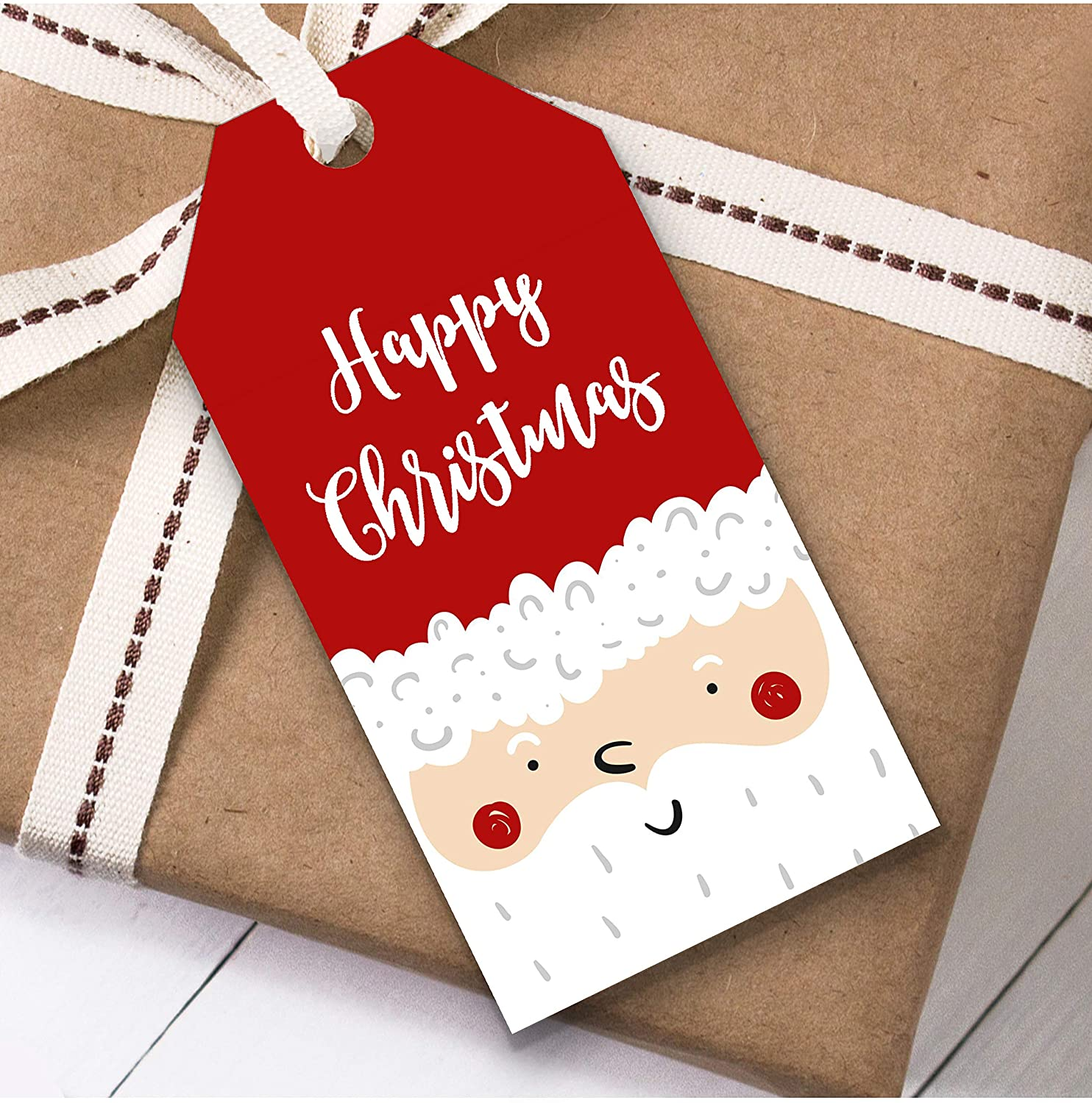 Santa Face Christmas Gift Tags (Present Favor Labels)