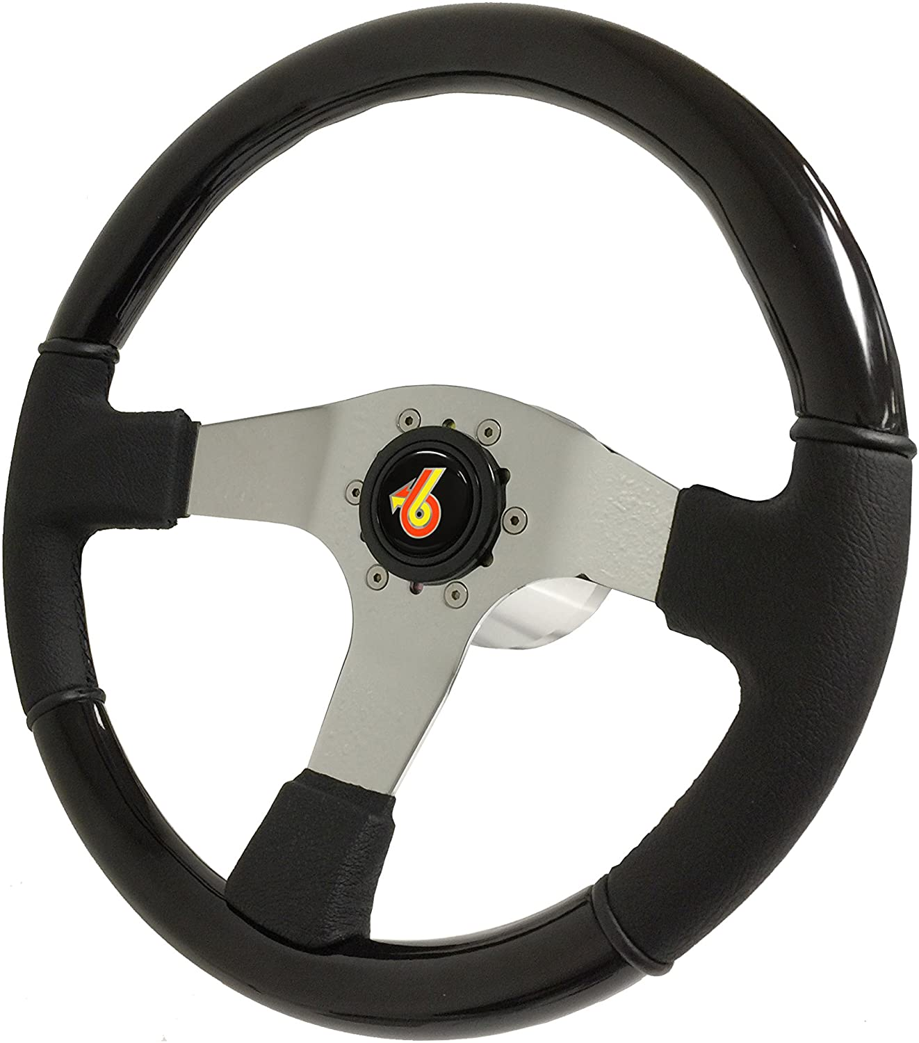 Volante Sport 6-Bolt Black Ash-Leather Steering Wheel Kit compatible with 1982 1983 1984 1985 1986 1987 1988 1989 Buick Grand National