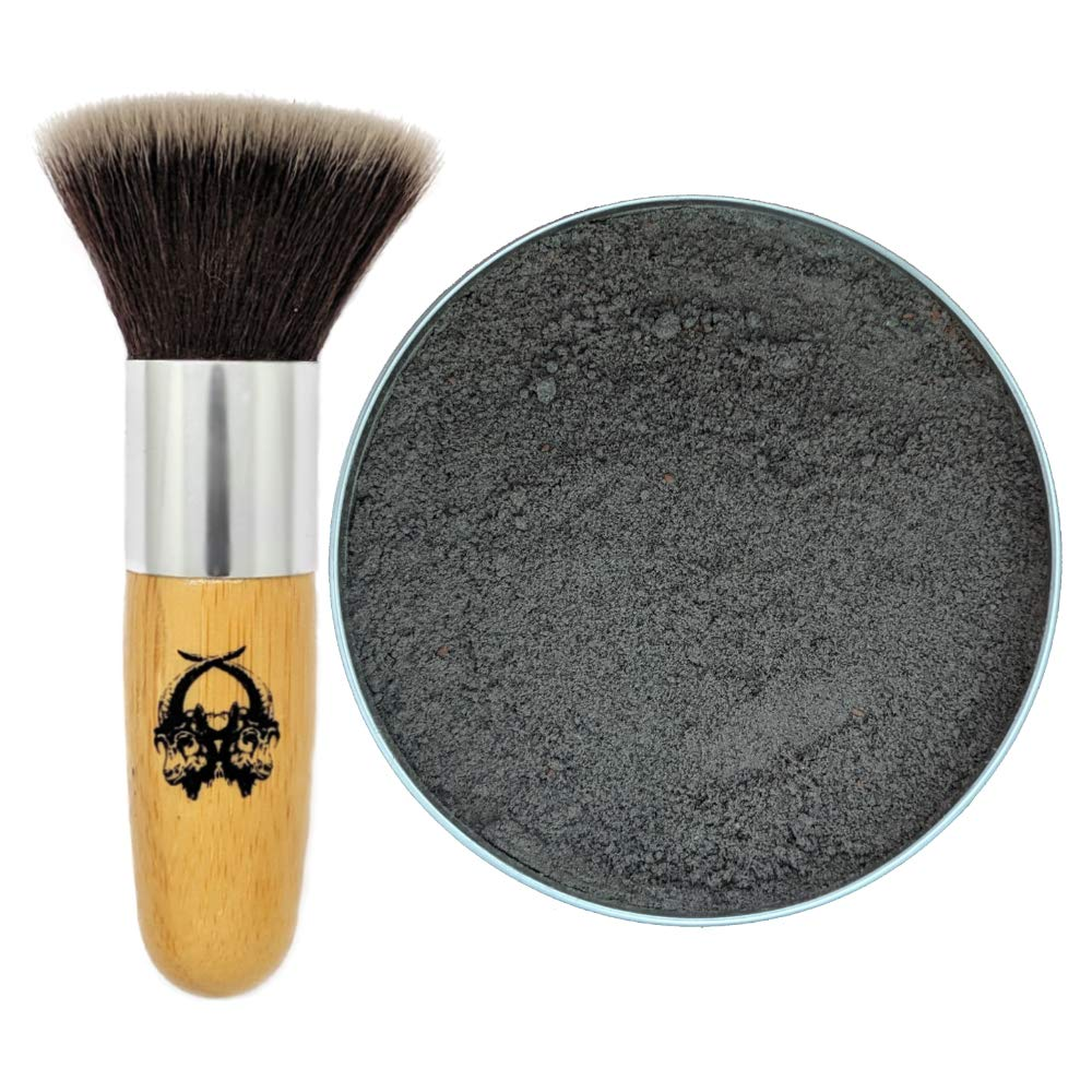 Travel Dry Shampoo Powder | Eco Friendly, All Natural Root Touch Up, Vegan Ingredients | Hair Powder Volumizer | For Black and Dark Brown Hair. (Ravn + Application Brush) Two Goats Apothecary