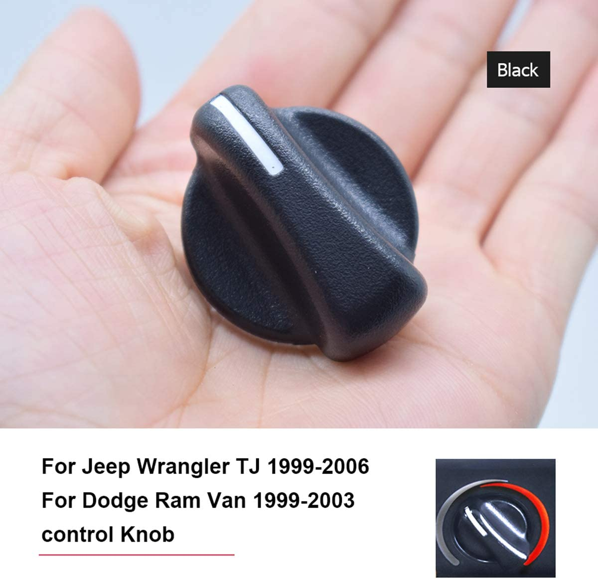 1PC Car A/C Heater Knob AC Air Conditioner Climate Control Blower Fan Knob Panel Switch Buttons Sticker Dials cover For Jeep Wrangler TJ 1999-2006 For Dodge Ram Van 1999-2003 OE # 5011218AC 5183281AA