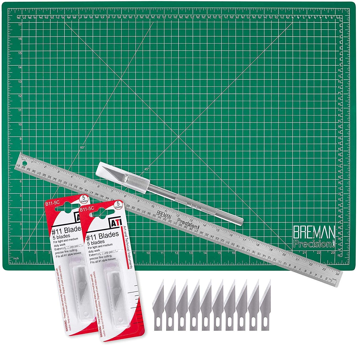 WA Portman Cutting Mat Craft Knife Precision Ruler Set - 18x24 Inch Self Healing Mat - Hobby Knife - 10 Replacement Blades Compatible with Most X acto Knives - 24 Inch Premium Steel Ruler