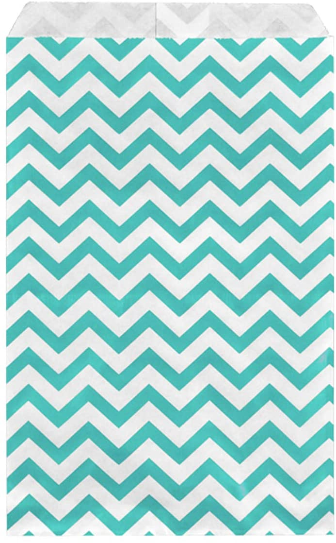 MOOCA 200 pcs Teal Blue Chevron Gift Bags Shopping Sales Tote Bags Paper Bags Packaging Bags Candy Bags Popcorn Bags Cookie Bags Treat Bags Bags for Packaging, 6