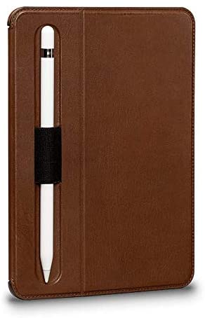 Sena Future Folio Genuine Leather Case for 7.9-Inch iPad Mini 5th Gen (2019) - Hands-Free Viewing with Apple Pencil and Pencil Holder, Brown (SHD31206NPUS-50)