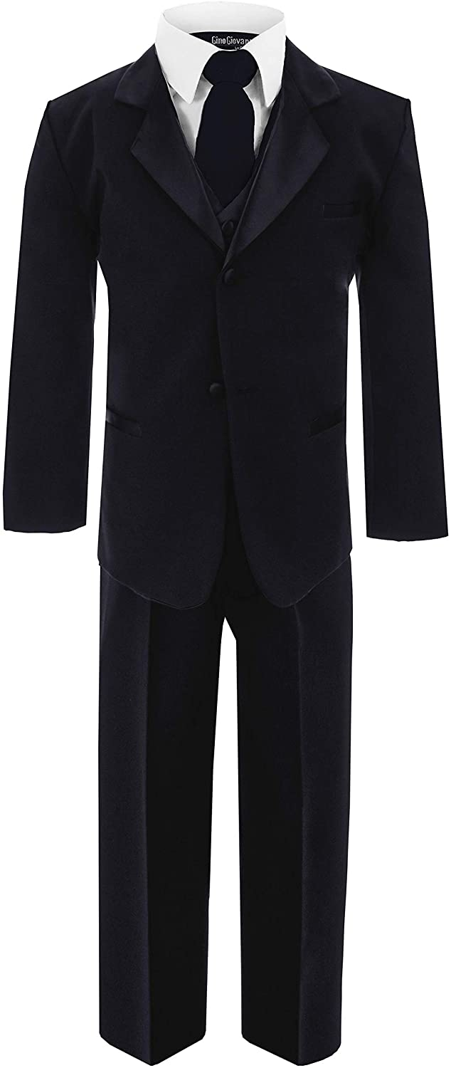 New Boys Usher with Tie Tuxedo Suit Tux Set Black from Baby to Teen (Medium (6-12 Months))