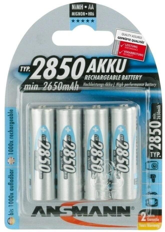 4 Pcs of ANSMANN 2850 mAh AA High Capacity Rechargeable Batteries 5035212