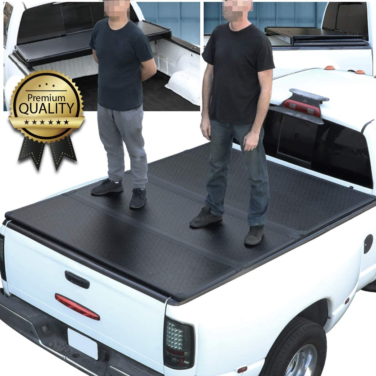 Hard Solid Tri-Fold Tonneau Cover Replacement for Dodge Ram Truck 1500 2500 3500 Fleetside 8 Ft Long Bed 02-09