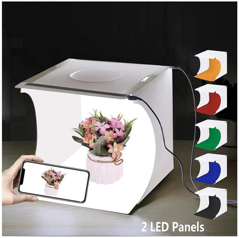 AIZYR 20Cm Folding Mini Photo Studio Super Bright Photography Light Box, Portable Shooting Light Tent with 6 Colors Backdrops and 2 LED Panels