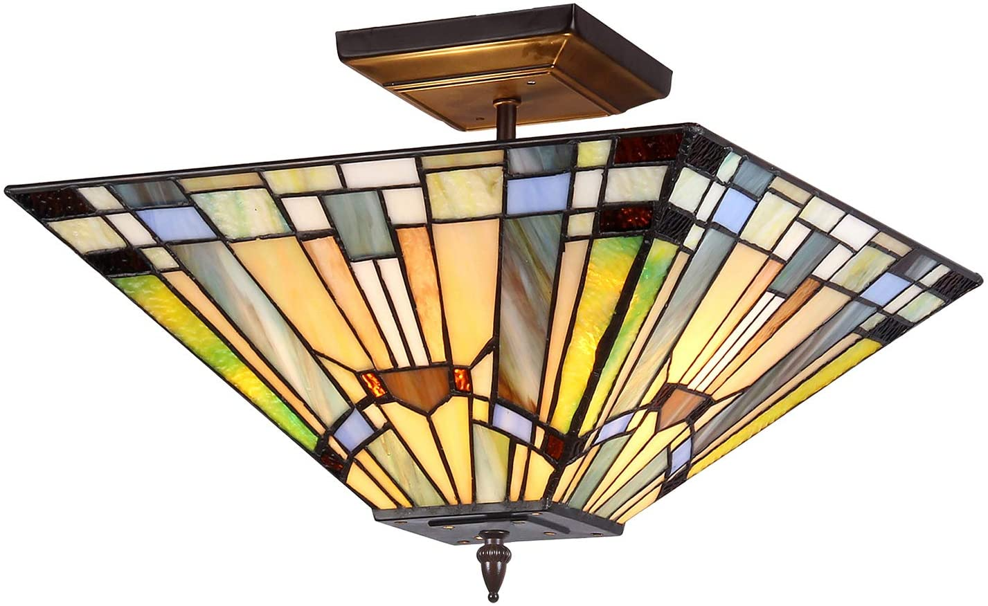 Capulina Tiffany Style Ceiling Light Fixtures, 2-Light Semi Flush Tiffany Ceiling Lights, 14 Inch Wide Blue Stained Glass Ceiling Light,Mission Style Tiffany Style Ceiling Flush Mount
