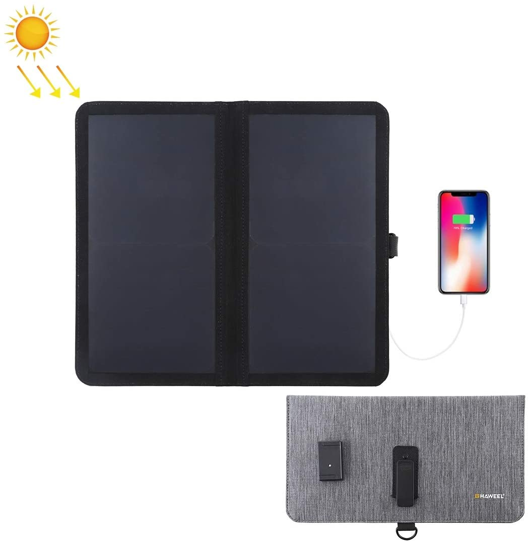 HAWEEL 14W Ultrathin 2-Fold Foldable Solar Panel Charger with 5V / 2.2A USB Port, Support QC3.0 and AFC (Black)