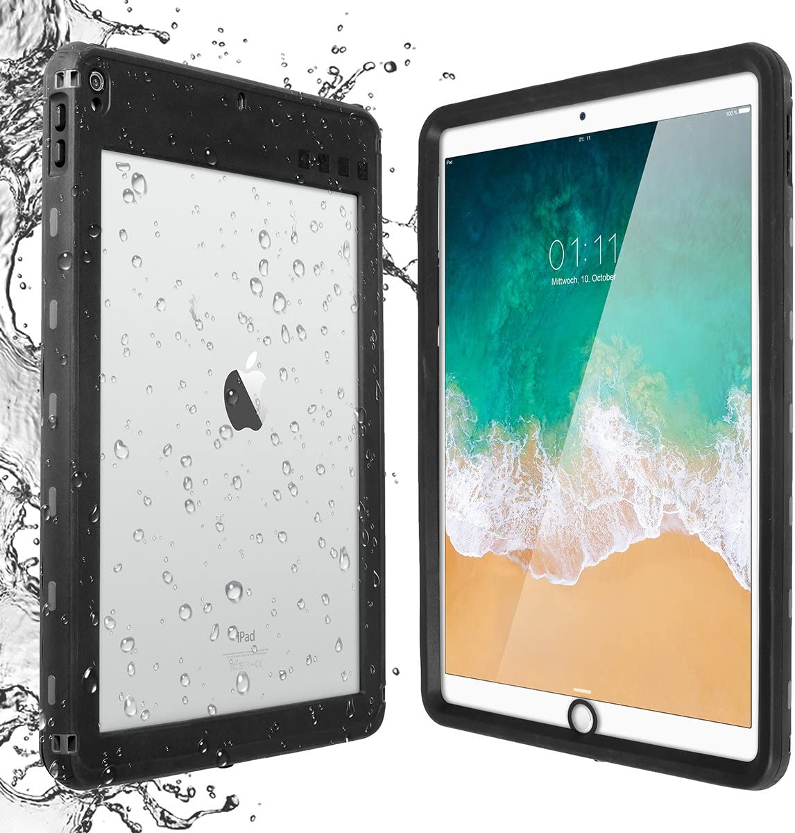 iPad Pro 10.5 Waterproof Case, AICase Water Resistant IP68 360 Degree All Round Protective Ultra Slim Thin Dust/Snow Proof with Lanyard for Apple iPad Pro10.5'' 2017-Black