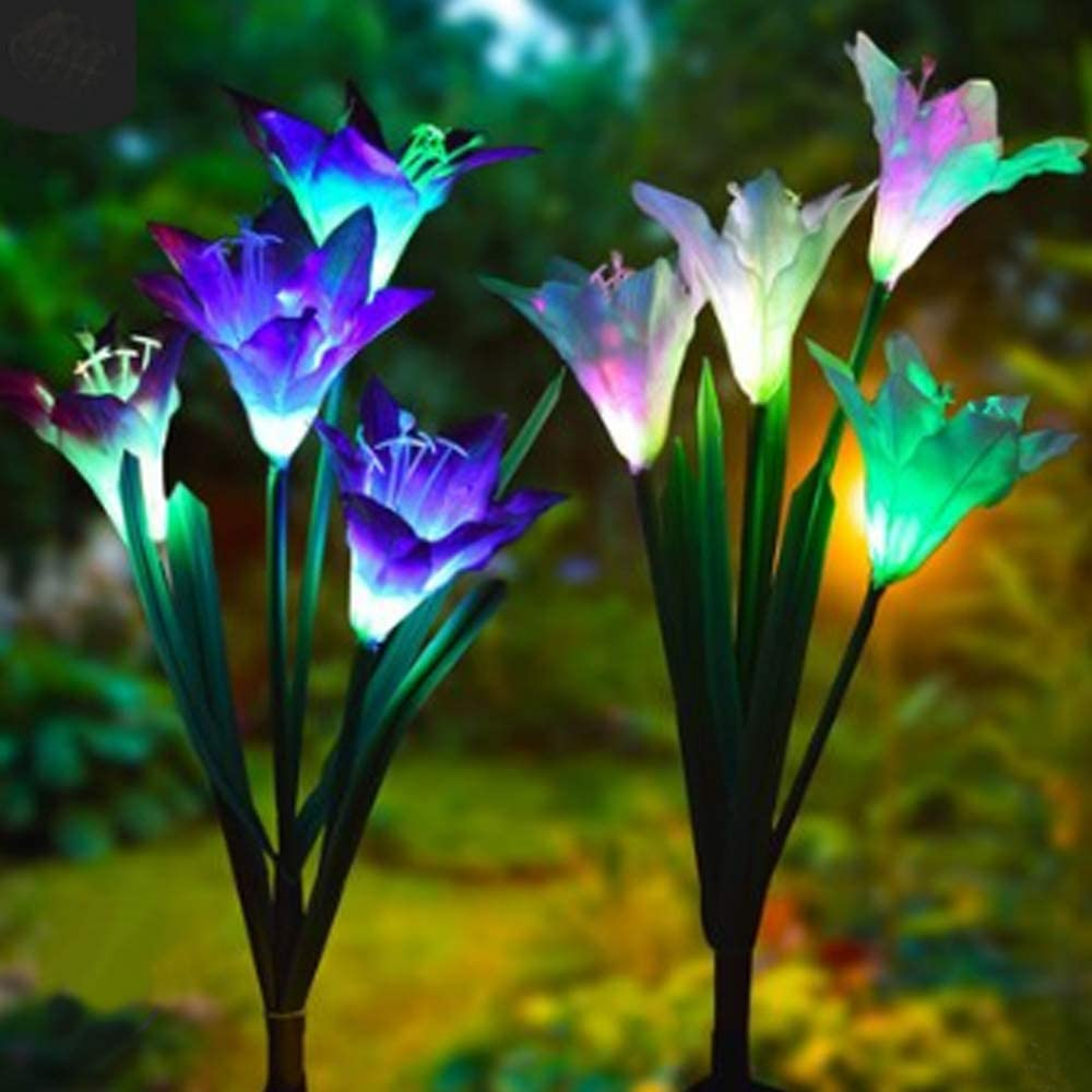 Outdoor Solar Garden Stake Lights with 4 Lily Flower Multi-Color Changing LED Lily Solar Powered Lights for Patio,Yard Decoration,Bigger Flower and Wider Solar Panel-Purple Flower with White Light