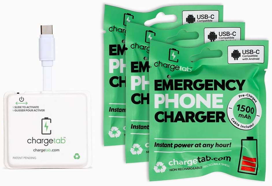 ChargeTab, Emergency Phone Charger, Portable Battery Pack, 1500mAh, On-Off Switch, Pre-Charged, Android USB-C, 3 Pack