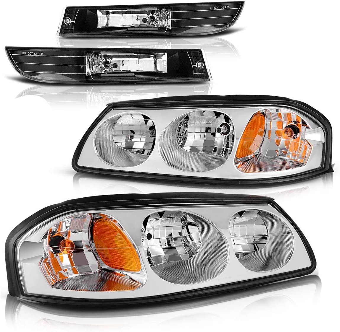 Headlight Assembly and Fog Lights Set for 2000 2001 2002 2003 2004 2005 Chevy Impala